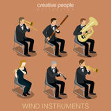 Wind instruments and musicians Royalty Free Stock Photos