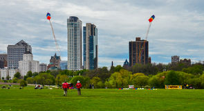Wind Jammers Kite Demonstration. A kite demonstration by an award winning kite team from Toronto, Canada, at a recent Kite Festival in Milwaukee, Wisconsin Stock Image
