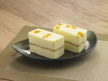 Wind Japanese-style rectangular cake yolk salted Stock Image