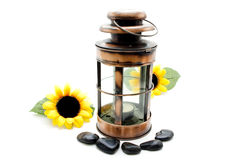 Wind light with stones and sunflower Royalty Free Stock Image