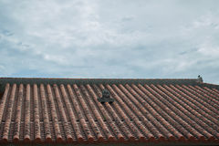 Wind lions Ryukyu houses on the roof royalty free stock image