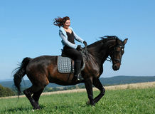 Wind in the manes. Equestrienne  climbs on the hillside Royalty Free Stock Images