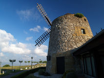 Wind mill. At algorta, evening time stock photography
