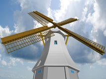 Wind mill. Wind mill on cloudscape background Stock Photo