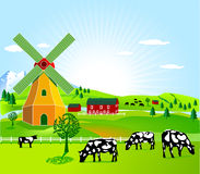 Wind mill and agriculture Royalty Free Stock Images