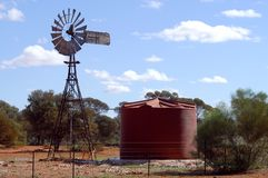 Wind mill in the Australian bush Royalty Free Stock Photo