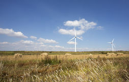Wind mill  in autumn farm land Royalty Free Stock Images