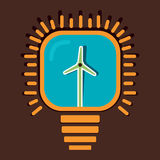 Wind mill in bulb concept Royalty Free Stock Image