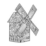 Wind mill coloring book for adults vector Royalty Free Stock Photos
