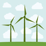 Wind mill and ecology design. Wind mill and clouds icon. Ecology renewable innovation and alternative theme. Vector illustration Stock Image