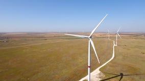 Wind mill electricity power turbine farm field hd aerial. stock video footage