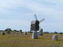 Wind mill on the gravefield of Gettlinge Stock Images