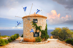 Wind mill in Greek islands Royalty Free Stock Photos