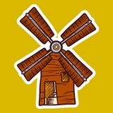 Wind mill icon, hand drawn style royalty free illustration