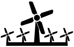Wind mill icon - wind power symbol Stock Photography