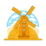 Wind mill  illustration in modern flat style. For logotype, label, badges, poster, web, icon. Stock Photography
