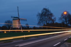 Wind mill with light trail Stock Image