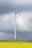 Wind mill in the midle of agriculture field. Wind mill in the midle of yellow agriculture field Royalty Free Stock Photography