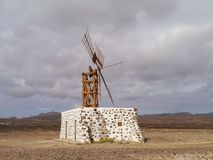The wind mill near Puerto Lajas on Fuerteventura Royalty Free Stock Photos