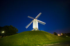 Wind mill at night. Belgian wind mill near Brugge under the starry night sky Stock Image