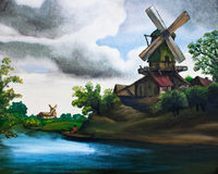 Wind mill oil painting Royalty Free Stock Photo
