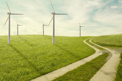Wind mill park on meadow Stock Image