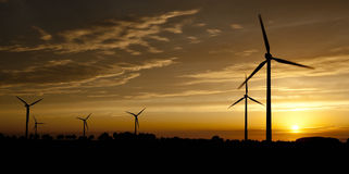 Wind Mill Park - Wind Turbine Silhouette Stock Photography