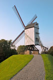 Wind mill and path at Brugge - Belgium Stock Images