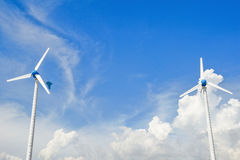 Wind mill power plant against blue sky Royalty Free Stock Photography