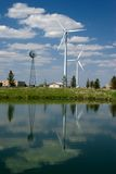 Wind Mill Reflection. Reflection of Wind Mills in pond just outside Rochester, Minnesota. Both Modern and old style of Wind mills Stock Photography