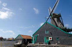 Wind mill with rural house of Zaanse Schans. In The Netherlands Royalty Free Stock Image