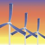 Wind mill sun raise. Vector illustration of three new type wind mills with solar panels Stock Photo