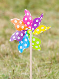 Wind mill toy on the grass Royalty Free Stock Images