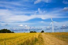 Wind mill turbines farm landscape Stock Photo
