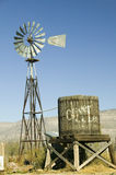Wind mill and water tank. In Oliver Lee Memorial State Park near Three Rivers National Petroglyph site, New Mexico royalty free stock photo