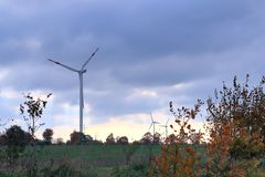 Wind mills in a alternative energy wind park in northern germany stock photography