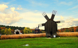 Wind mills in an autumn scenery Royalty Free Stock Photos