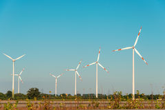 Wind mills during bright Royalty Free Stock Photos