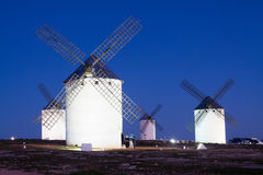 Wind mills at Campo de Criptana in night time Stock Image