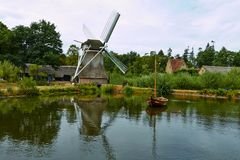 Wind mills close to a lake at Arnhem stock photos