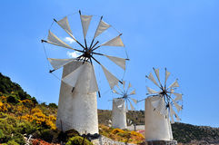 Wind mills in Crete Stock Photo