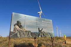 Wind mills in El Cabo De La Vela and sign board about Wayuu, Col Stock Photography