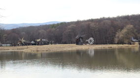 Wind Mills near Lake stock video