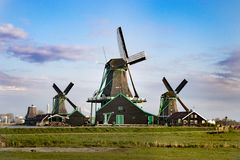 Wind mills in netherlands stock photo
