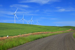 Wind Mills On Rolling Hills Stock Images