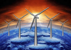 Wind mills and planet ground Royalty Free Stock Photo
