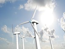 Wind mills, renewable energy. Royalty Free Stock Photo