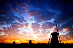 Wind mills sillhouete Royalty Free Stock Image