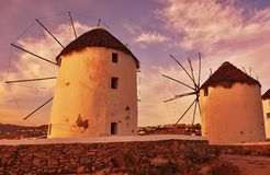 Sunset at windmills of Mykonos Royalty Free Stock Photos