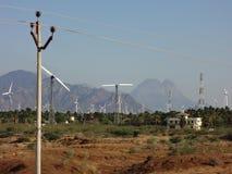 Wind mills. Windmills near kanyakumari mountains coconut trees Royalty Free Stock Image